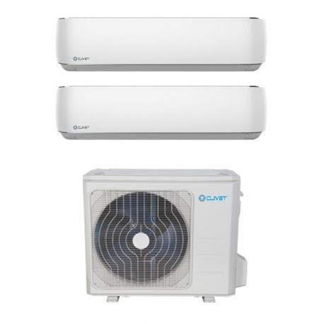 CLIVET Klimaanlage Dual Split 12000 + 12000 BTU Inverter A++ WIFI Außeneinheit 5,4 kW