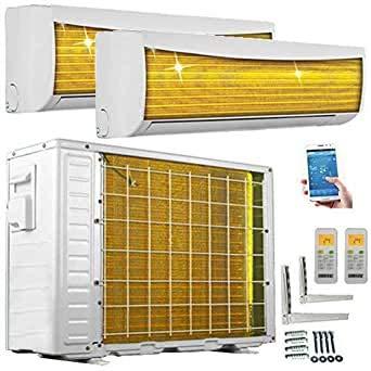 A++/A++ Duo-Split WiFi/WLAN Steuerung Golden-Fin 2,6 + 2,6 kW 9000+9000 BTU MultiSplit Klimaanlage INVERTER Klimagerät mit zwei Inneneinheiten 2...