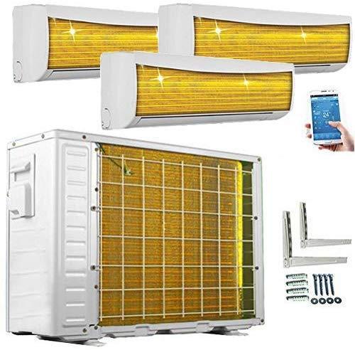 A++/A++/A++ TrioSplit Golden-Fin WiFi/WLAN 3x 3,5kW - 3x 12000 BTU MultiSplit Klimaanlage INVERTER Klimagerät und Heizung Inkl. 3x WiFi-Module im...